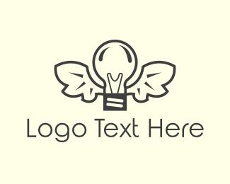 Lighting - Winged Lamp logo design