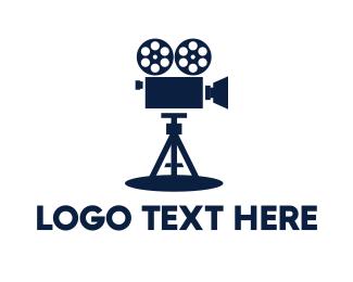 Movie Production - Blue Vintage Camera logo design