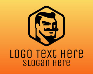 Black Man - Mustache Man logo design
