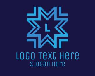 Frosty - Blue Snowflake Lettermark logo design