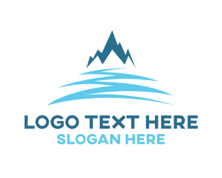 Glacial - Snow Blue Mountain logo design
