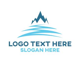 Snowboarding - Snow Blue Mountain logo design