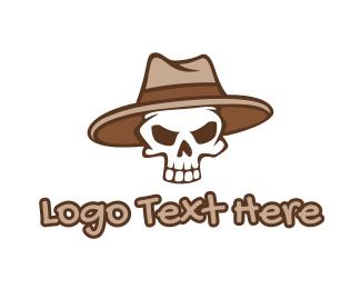 Hat - Fedora Skull Hat logo design