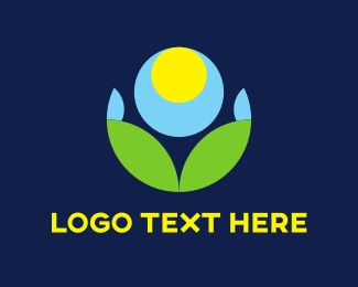 Meditate - Circles & Blue Flower logo design