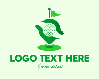 Golf Ball - Green Golf Locator logo design