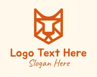 Red Tiger - Feline Cat Line Art logo design