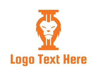 Orange Lion - Lion Pillar logo design