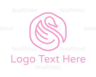 Makeup Artist - Minimalist Pink Swan logo design