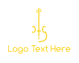 Green Instrument - Yellow Minimalist Violin logo design