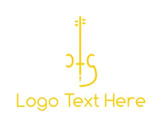 Violinist - Yellow Minimalist Violin logo design