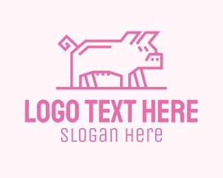 Meat - Pink Pig logo design
