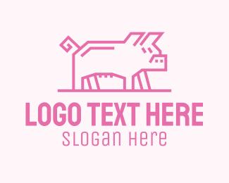 Bacon - Pink Minimalist Pig logo design