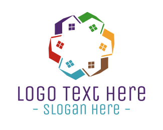 Roofing - House Circle logo design