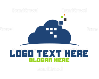 Pixel - Cloud Pixels logo design