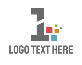 Number 1 - Pixel Number 1 logo design