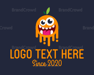 Green And Orange - Orange Monster logo design