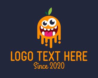 Crazy - Orange Monster logo design