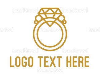 Ring - Diamond Ring Outline logo design