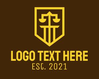University - Golden Law Shield logo design