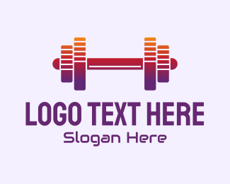 Rave Party - Dumbbell Fitness Gym Music logo design