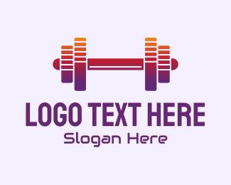 Exercise - Dumbbell Fitness Gym Music logo design