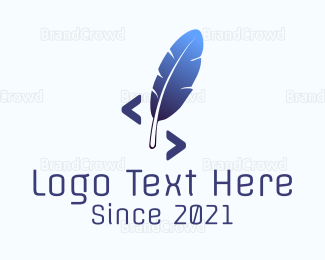Html - Blue Feather logo design