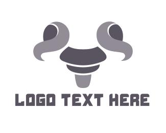 Milk - Gray Goat Outline logo design