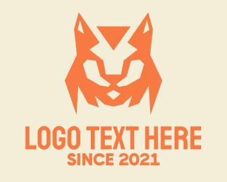 Kennel - Orange Bobcat Mascot logo design