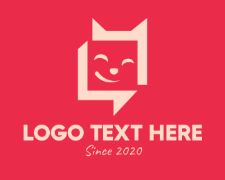 Messaging App - Happy Cat Chat logo design