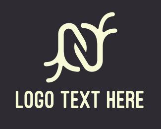 Yogi - White Letter N Branches logo design