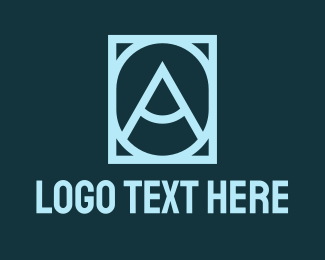 A - Blue Frame Letter O & A logo design