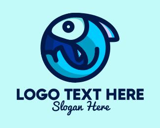 Seafood Restaurant - Blue Fish  Circle logo design