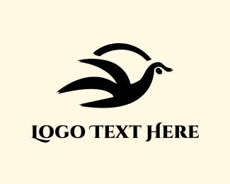 Crow - Black Abstract Bird  logo design