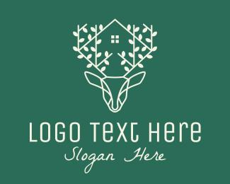 Deer Head - Nature Deer House  logo design