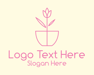 Home Garden - Minimalist Tulip Flower Pot logo design