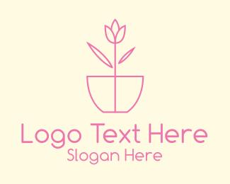 House Plant - Minimalist Tulip Flower Pot logo design
