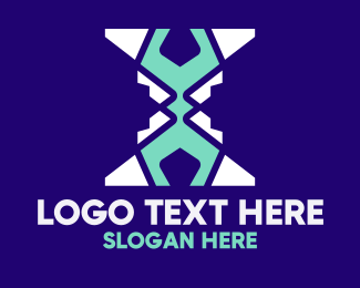 Hacking - Modern Polygon X Lettermark logo design