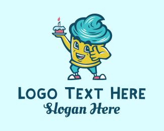 Boulangerie - Birthday Cupcake Mascot  logo design