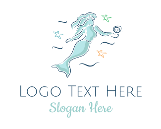 Feminine - Blue Mermaid logo design