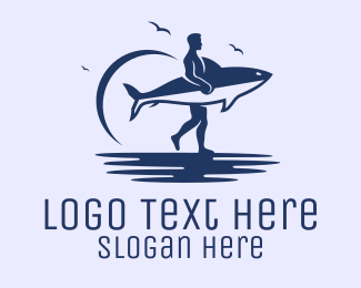 Surfing - Shark Surfer logo design