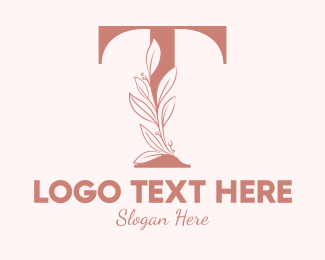 """Elegant Leaves Letter T"" by brandcrowd"