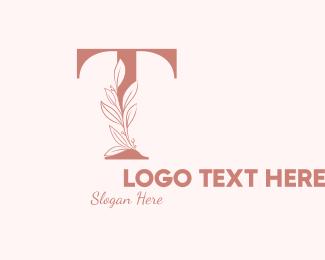 Leaf - Elegant Leaves Letter T logo design