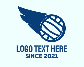 Water Sports - Blue Water Polo Ball Wing logo design