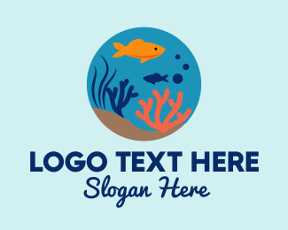 Seaweed - Goldfish Fish Bowl Aquarium logo design