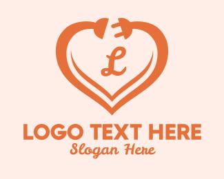 Cord - Heart Electric Plug Letter logo design