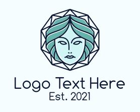Beauty - Blue Woman Geometric logo design