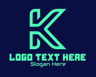 Game Stream - Green Tech Letter K logo design