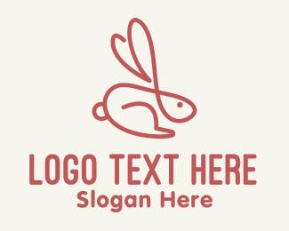 Celebration - Red Bunny Monoline logo design