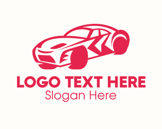 Sedan - Red Sports Car logo design