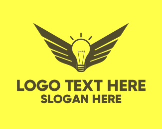 Logic - Smart Light Bulb Wings logo design